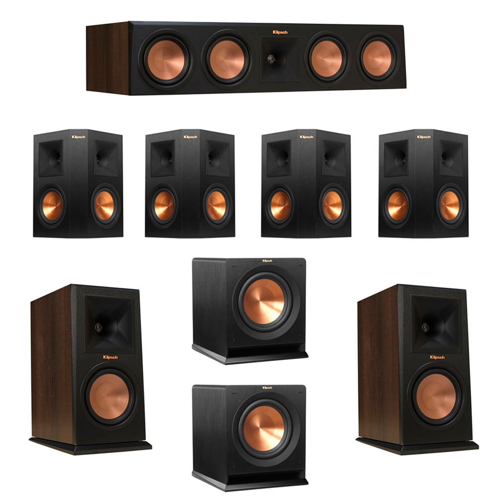 Klipsch 7.2 Walnut System with 2 RP-160M Monitor Speakers, 1 RP-450C Center Speaker, 4 Klipsch RP-250S Ebony Surround Speakers, 2 Klipsch R-110SW Subwoofer