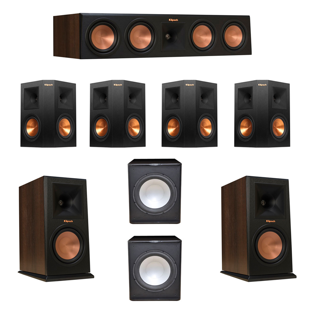 Klipsch 7.2 Walnut System with 2 RP-160M Monitor Speakers, 1 RP-450C Center Speaker, 4 Klipsch RP-250S Ebony Surround Speakers, 2 Premier Acoustic PA-150 Subwoofer