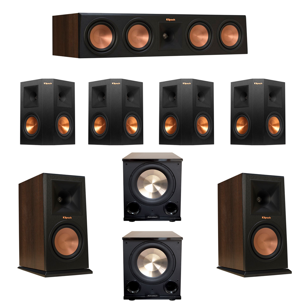 Klipsch 7.2 Walnut System with 2 RP-160M Monitor Speakers, 1 RP-450C Center Speaker, 4 Klipsch RP-250S Ebony Surround Speakers, 2 BIC/Acoustech Platinum Series PL-200 II Subwoofer