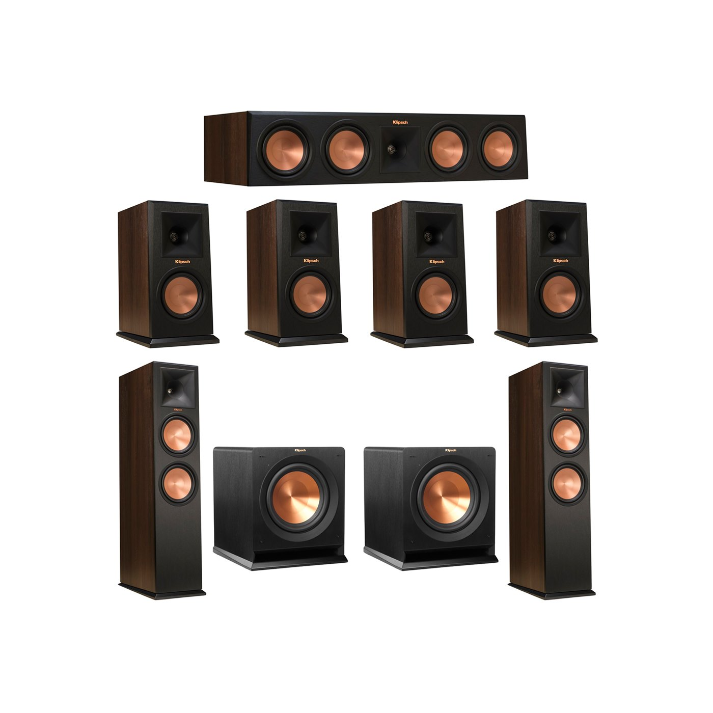 Klipsch 7.2 Walnut System with 2 RP-280F Tower Speakers, 1 RP-450C Center Speaker, 4 Klipsch RP-150M Bookshelf Speakers, 2 Klipsch R-110SW Subwoofer