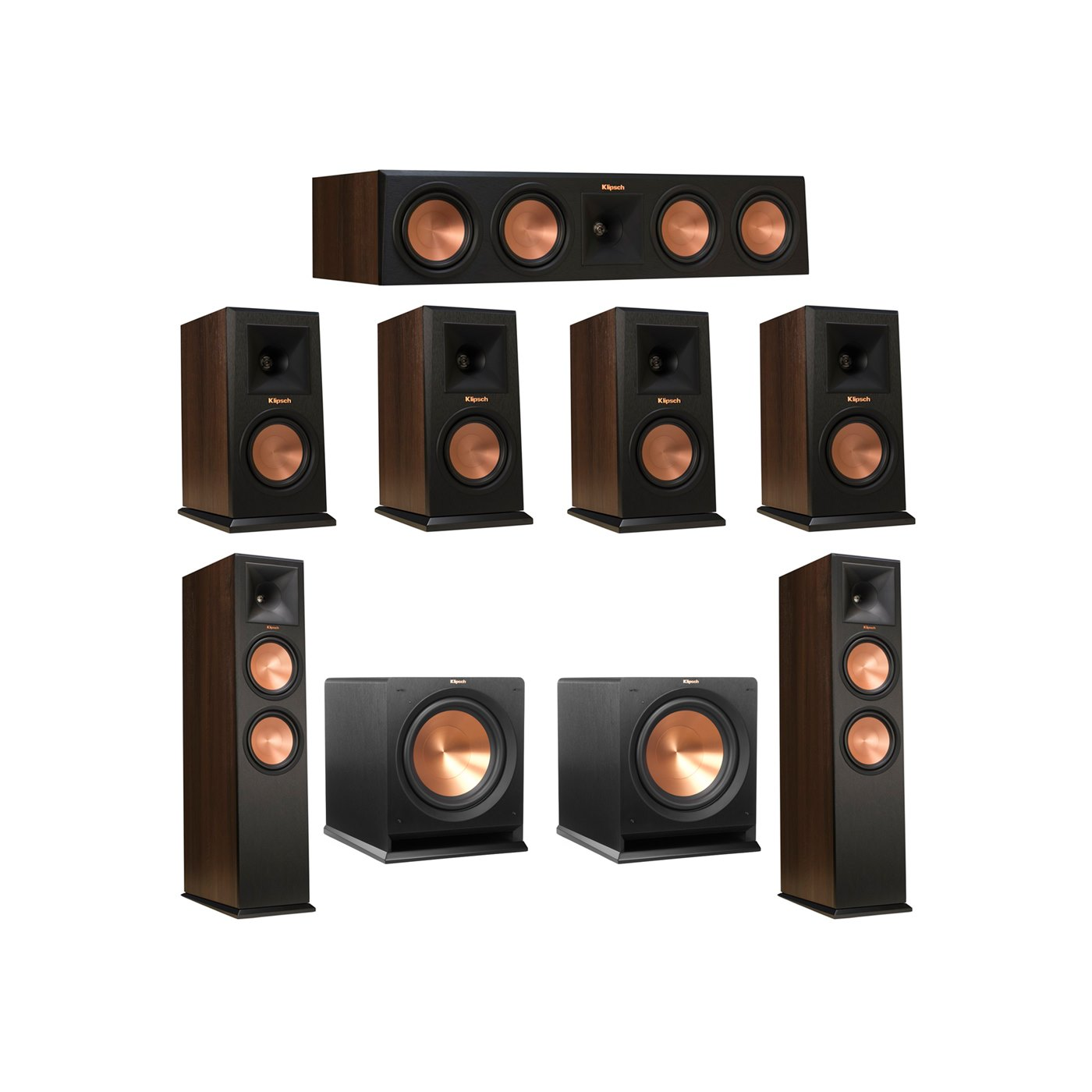Klipsch 7.2 Walnut System with 2 RP-280F Tower Speakers, 1 RP-450C Center Speaker, 4 Klipsch RP-150M Bookshelf Speakers, 2 Klipsch R-112SW Subwoofer