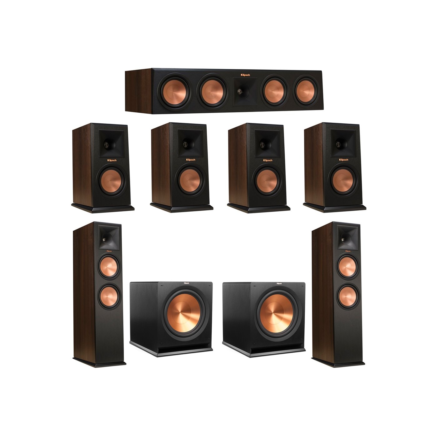 Klipsch 7.2 Walnut System with 2 RP-280F Tower Speakers, 1 RP-450C Center Speaker, 4 Klipsch RP-150M Bookshelf Speakers, 2 Klipsch R-115SW Subwoofer