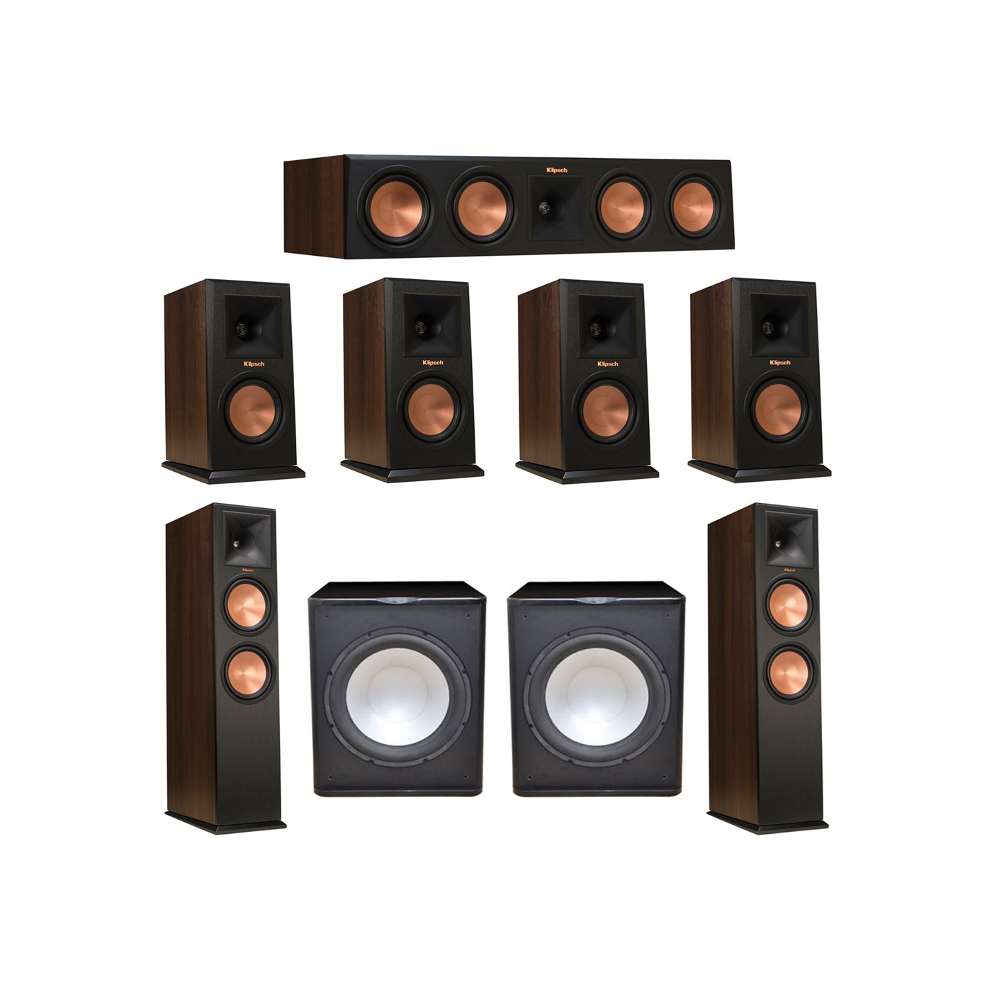 Klipsch 7.2 Walnut System with 2 RP-280F Tower Speakers, 1 RP-450C Center Speaker, 4 Klipsch RP-150M Bookshelf Speakers, 2 Premier Acoustic PA-150 Subwoofer
