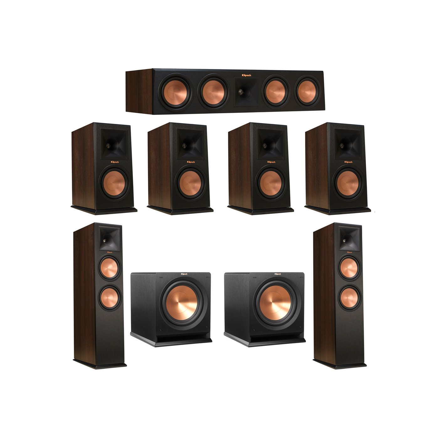 Klipsch 7.2 Walnut System with 2 RP-280F Tower Speakers, 1 RP-450C Center Speaker, 4 Klipsch RP-160M Bookshelf Speakers, 2 Klipsch R-112SW Subwoofer
