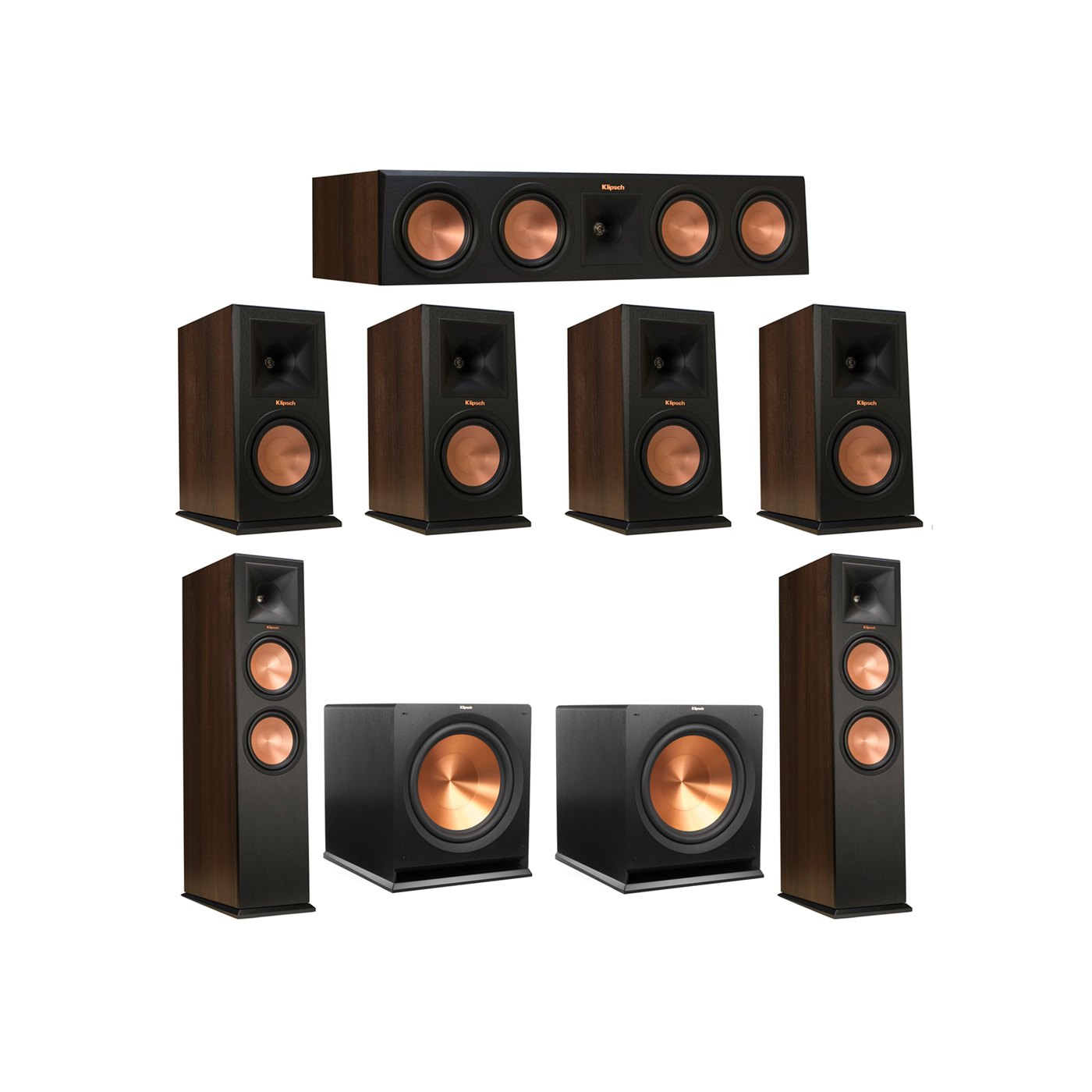 Klipsch 7.2 Walnut System with 2 RP-280F Tower Speakers, 1 RP-450C Center Speaker, 4 Klipsch RP-160M Bookshelf Speakers, 2 Klipsch R-115SW Subwoofer