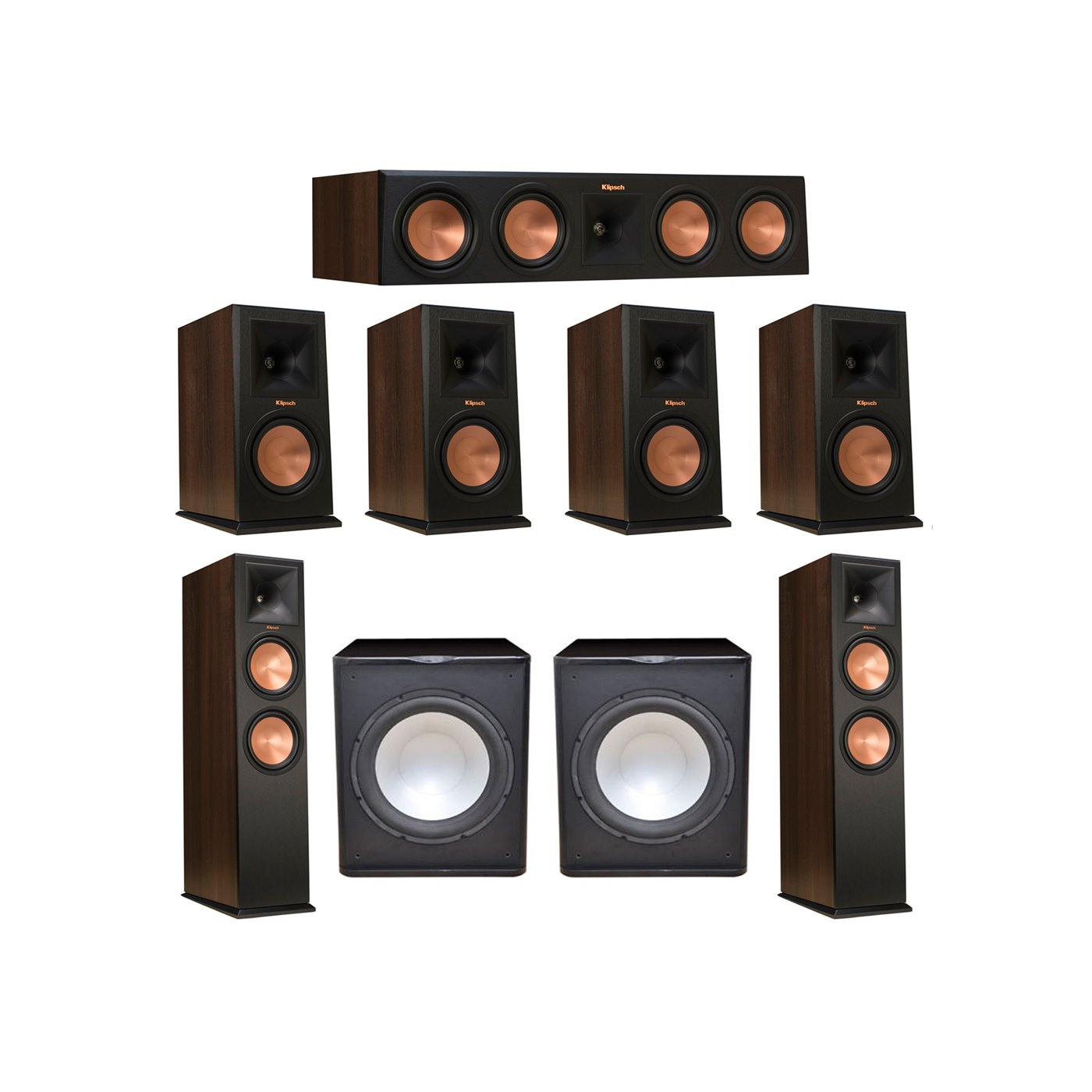 Klipsch 7.2 Walnut System with 2 RP-280F Tower Speakers, 1 RP-450C Center Speaker, 4 Klipsch RP-160M Bookshelf Speakers, 2 Premier Acoustic PA-150 Subwoofer