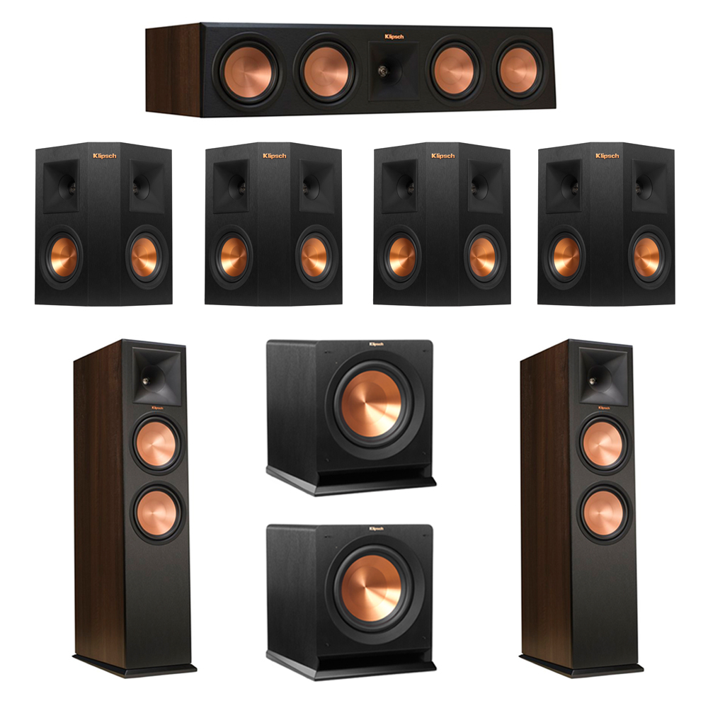 Klipsch 7.2 Walnut System with 2 RP-280F Tower Speakers, 1 RP-450C Center Speaker, 4 Klipsch RP-240S Ebony Surround Speakers, 2 Klipsch R-110SW Subwoofer
