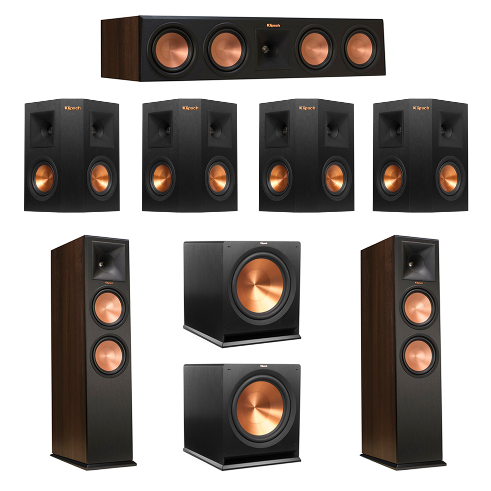 Klipsch 7.2 Walnut System with 2 RP-280F Tower Speakers, 1 RP-450C Center Speaker, 4 Klipsch RP-240S Ebony Surround Speakers, 2 Klipsch R-115SW Subwoofer