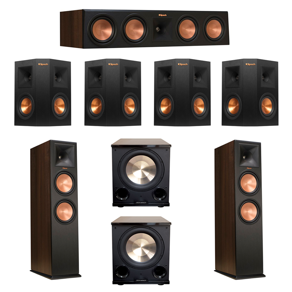 Klipsch 7.2 Walnut System with 2 RP-280F Tower Speakers, 1 RP-450C Center Speaker, 4 Klipsch RP-240S Ebony Surround Speakers, 2 BIC/Acoustech Platinum Series PL-200 II Subwoofer