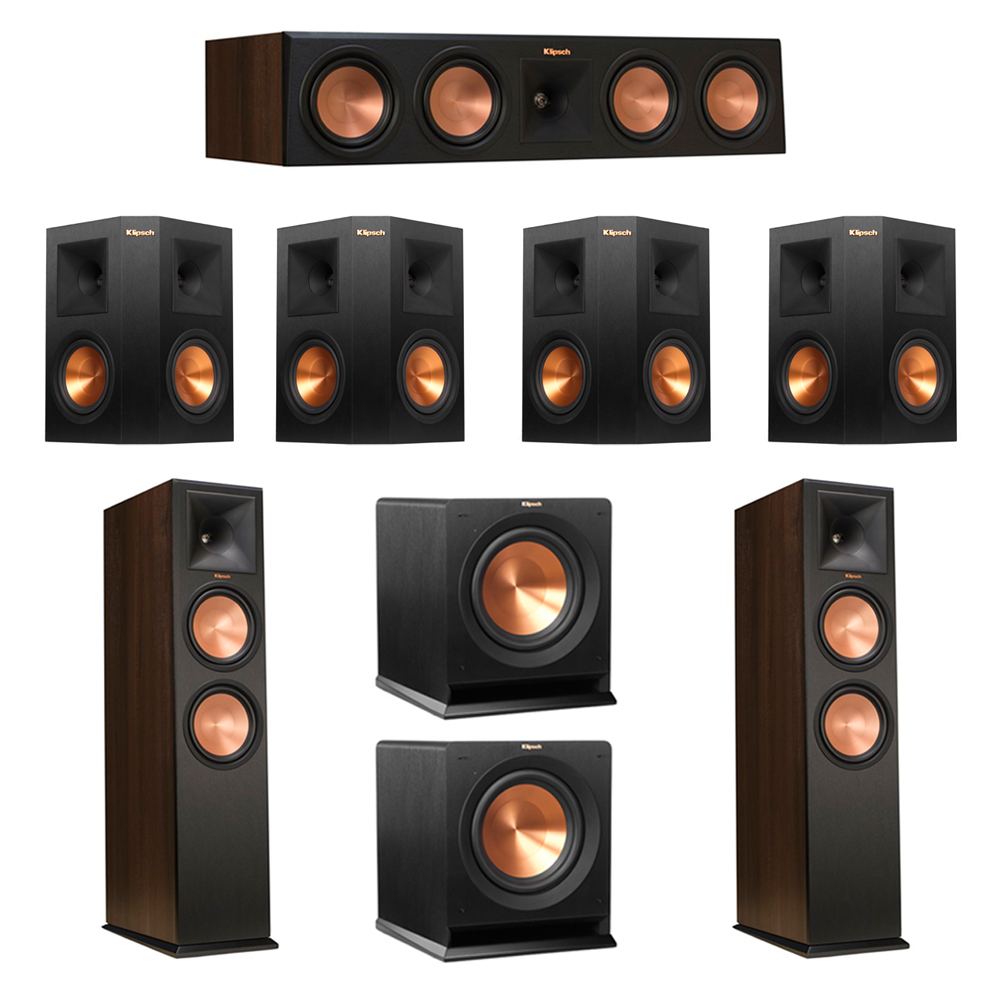 Klipsch 7.2 Walnut System with 2 RP-280F Tower Speakers, 1 RP-450C Center Speaker, 4 Klipsch RP-250S Ebony Surround Speakers, 2 Klipsch R-110SW Subwoofer