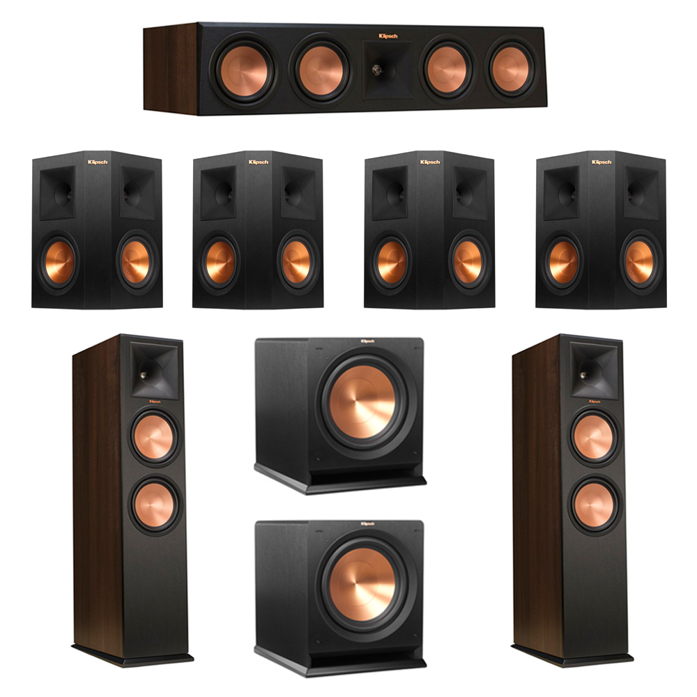 Klipsch 7.2 Walnut System with 2 RP-280F Tower Speakers, 1 RP-450C Center Speaker, 4 Klipsch RP-250S Ebony Surround Speakers, 2 Klipsch R-112SW Subwoofer