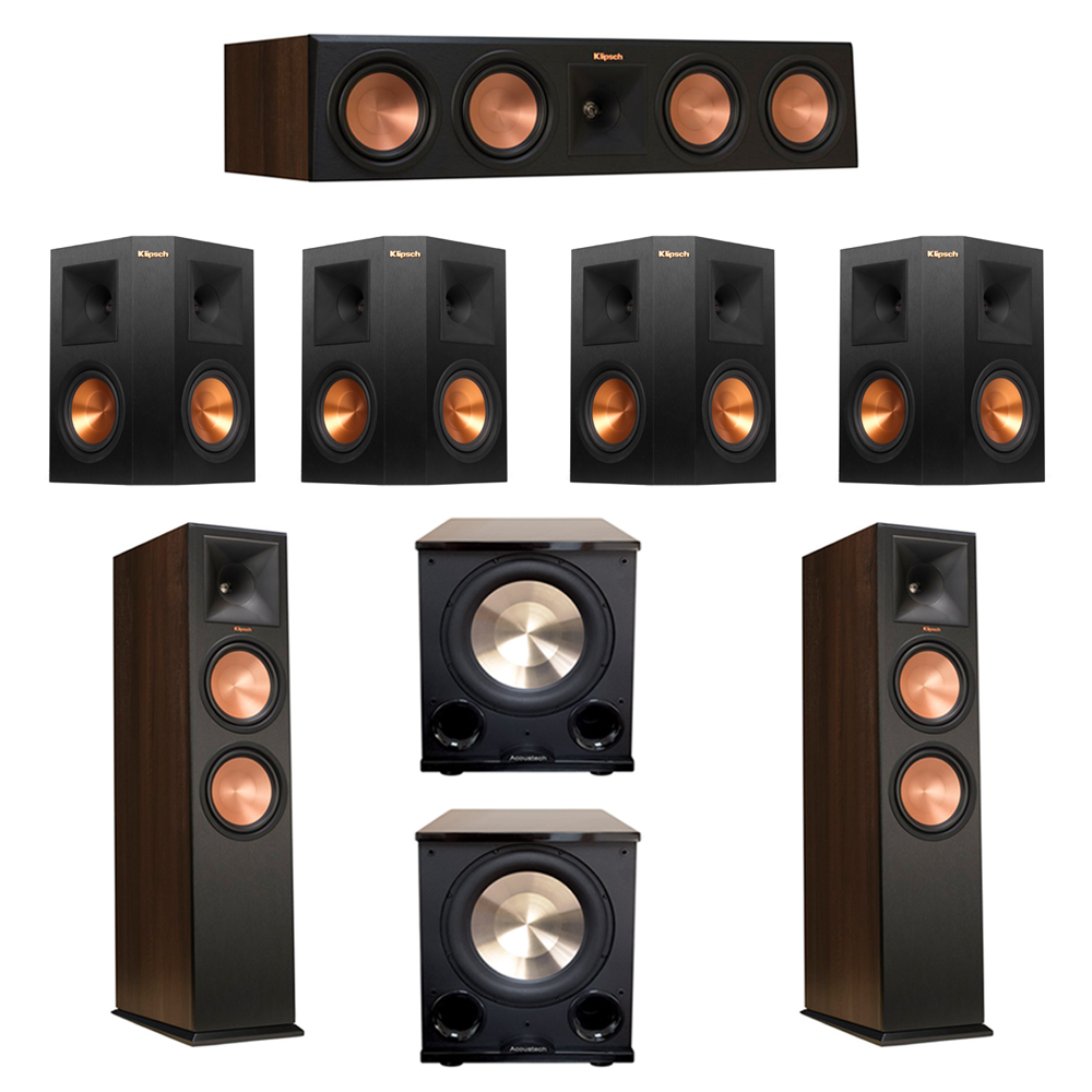 Klipsch 7.2 Walnut System with 2 RP-280F Tower Speakers, 1 RP-450C Center Speaker, 4 Klipsch RP-250S Ebony Surround Speakers, 2 BIC/Acoustech Platinum Series PL-200 II Subwoofer