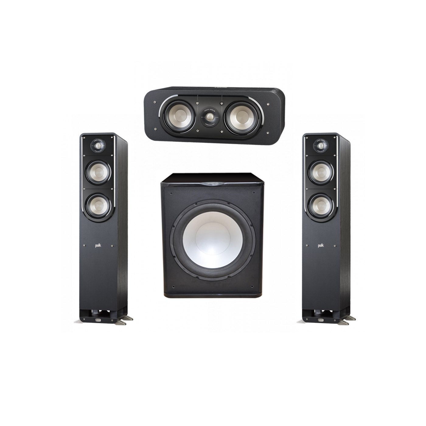 Polk Audio Signature 3.1 System with 2 S50 Tower Speaker, 1 Polk S30 Center Speaker, 1 Premier Acoustic PA-150 Powered Subwoofer