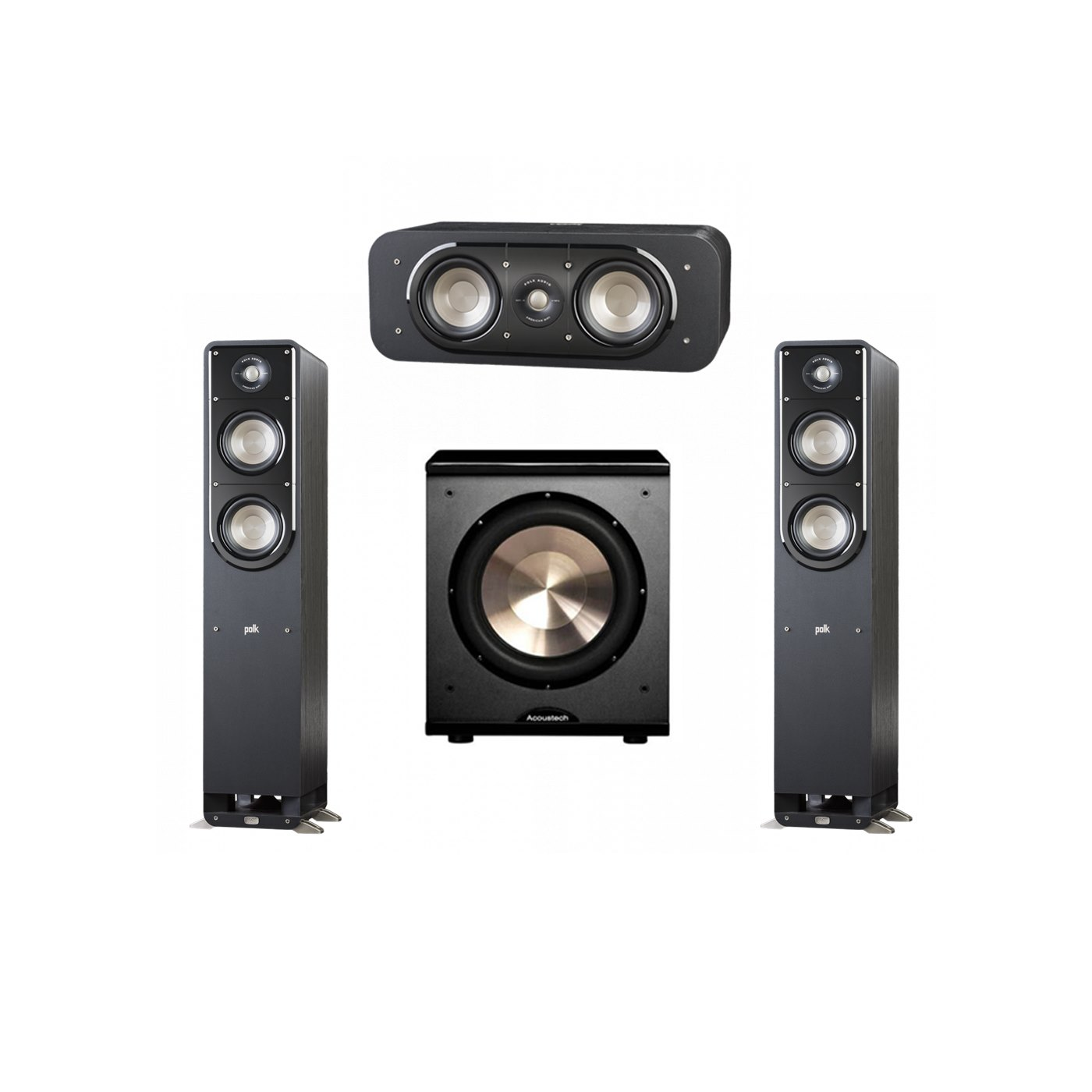 Polk Audio Signature 3.1 System with 2 S50 Tower Speaker, 1 Polk S30 Center Speaker, 1 BIC/Acoustech Platinum Series PL-200 Subwoofer