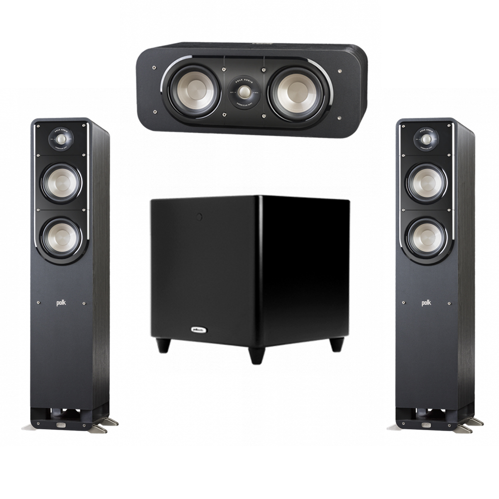 Polk Audio Signature 3.1 System with 2 S50 Tower Speaker, 1 Polk S30 Center Speaker, 1 Polk DSW PRO 550 wi Subwoofer