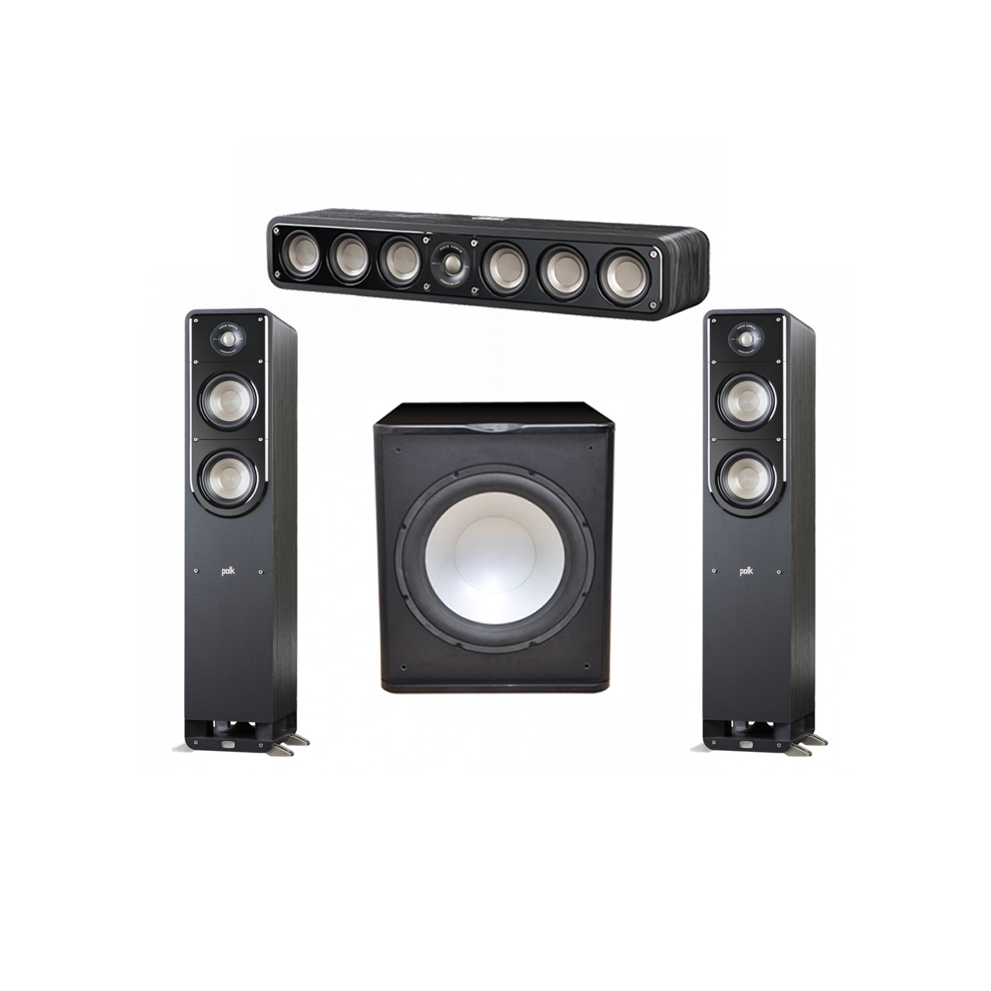 Polk Audio Signature 3.1 System with 2 S50 Tower Speaker, 1 Polk S35 Center Speaker, 1 Premier Acoustic PA-150 Powered Subwoofer