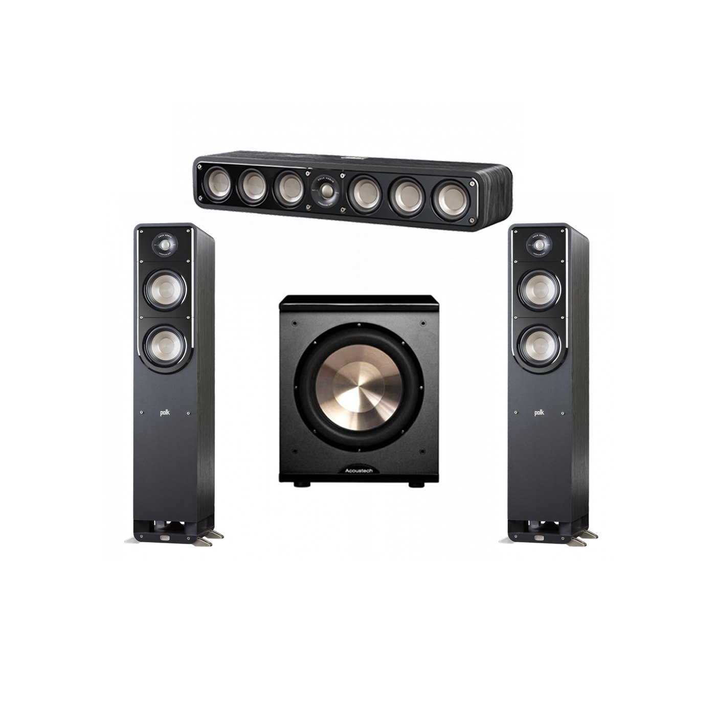 Polk Audio Signature 3.1 System with 2 S50 Tower Speaker, 1 Polk S35 Center Speaker, 1 BIC/Acoustech Platinum Series PL-200 Subwoofer