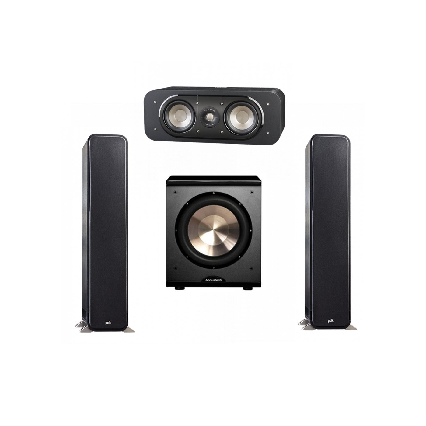 Polk Audio Signature 3.1 System with 2 S55 Tower Speaker, 1 Polk S30 Center Speaker, 1 BIC/Acoustech Platinum Series PL-200 Subwoofer