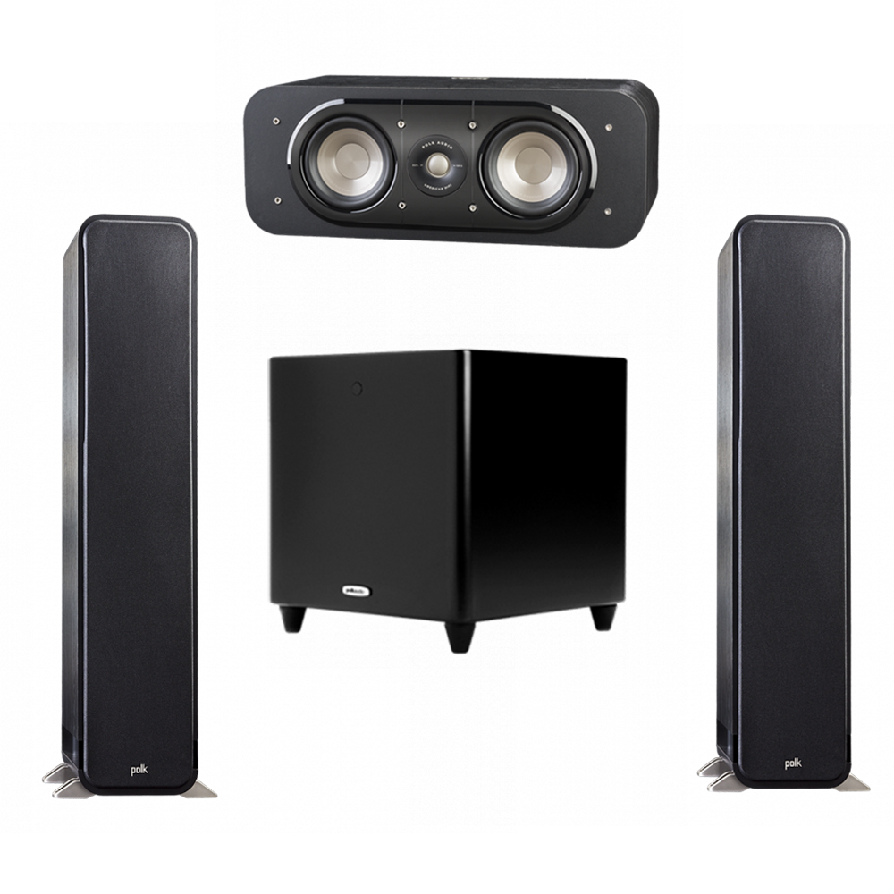 Polk Audio Signature 3.1 System with 2 S55 Tower Speaker, 1 Polk S30 Center Speaker, 1 Polk DSW PRO 550 wi Subwoofer