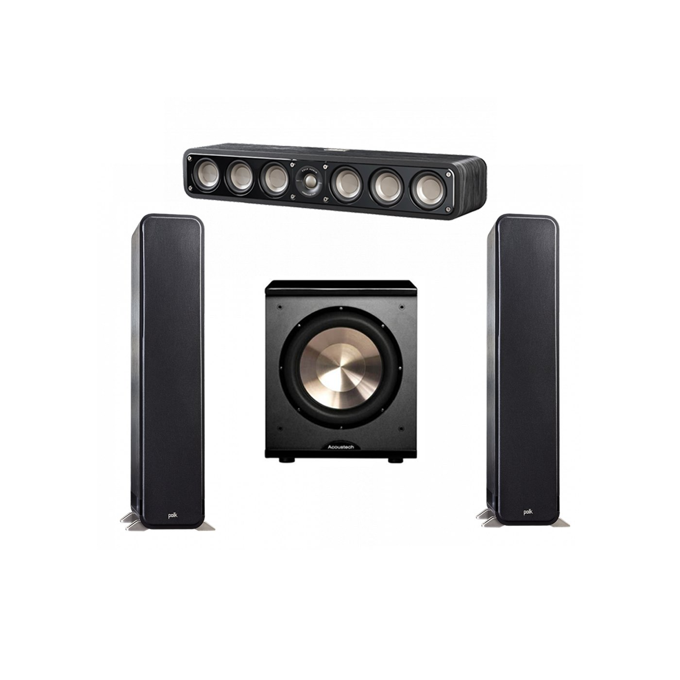 Polk Audio Signature 3.1 System with 2 S55 Tower Speaker, 1 Polk S35 Center Speaker, 1 BIC/Acoustech Platinum Series PL-200 Subwoofer