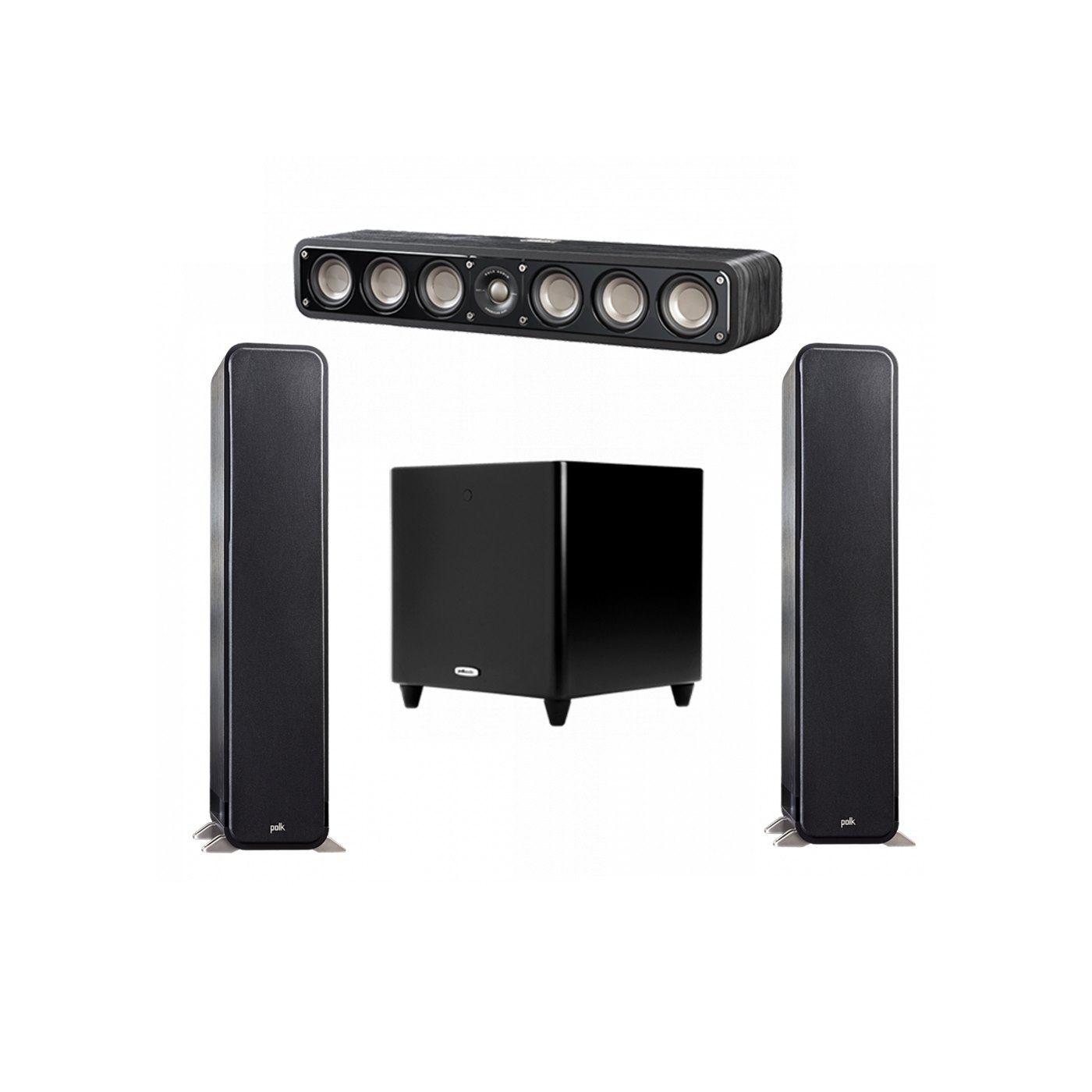 Polk Audio Signature 3.1 System with 2 S55 Tower Speaker, 1 Polk S35 Center Speaker, 1 Polk DSW PRO 550 wi Subwoofer