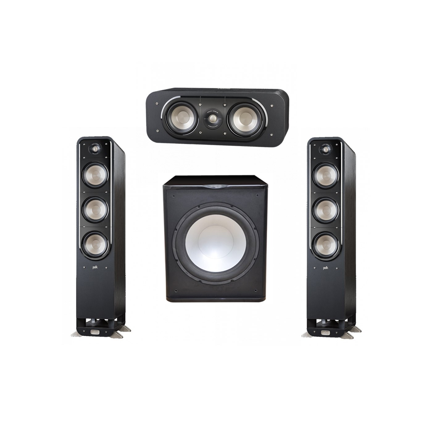 Polk Audio Signature 3.1 System with 2 S60 Tower Speaker, 1 Polk S30 Center Speaker, 1 Premier Acoustic PA-150 Powered Subwoofer