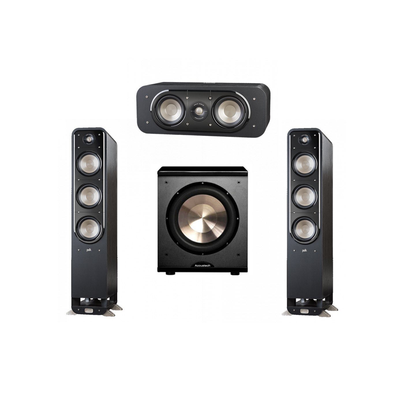 Polk Audio Signature 3.1 System with 2 S60 Tower Speaker, 1 Polk S30 Center Speaker, 1 BIC/Acoustech Platinum Series PL-200 Subwoofer