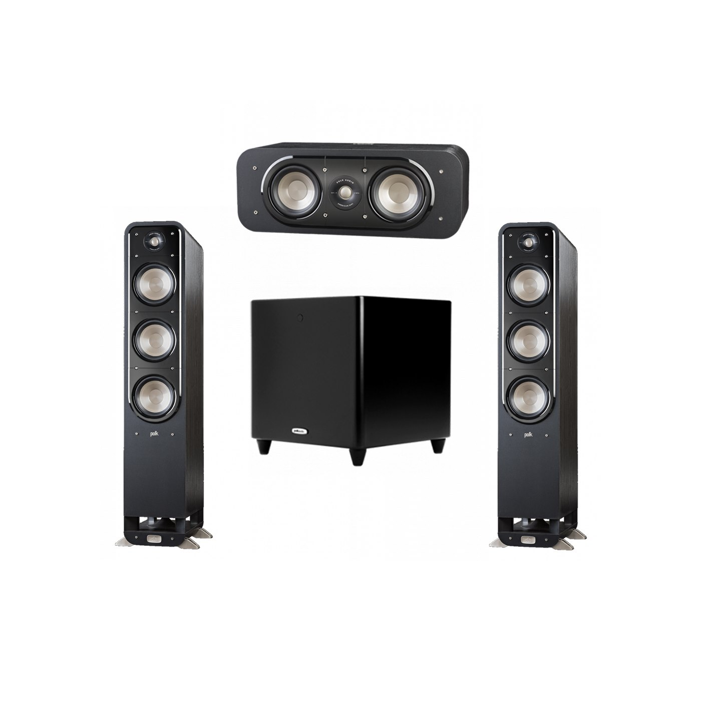 Polk Audio Signature 3.1 System with 2 S60 Tower Speaker, 1 Polk S30 Center Speaker, 1 Polk DSW PRO 550 wi Subwoofer