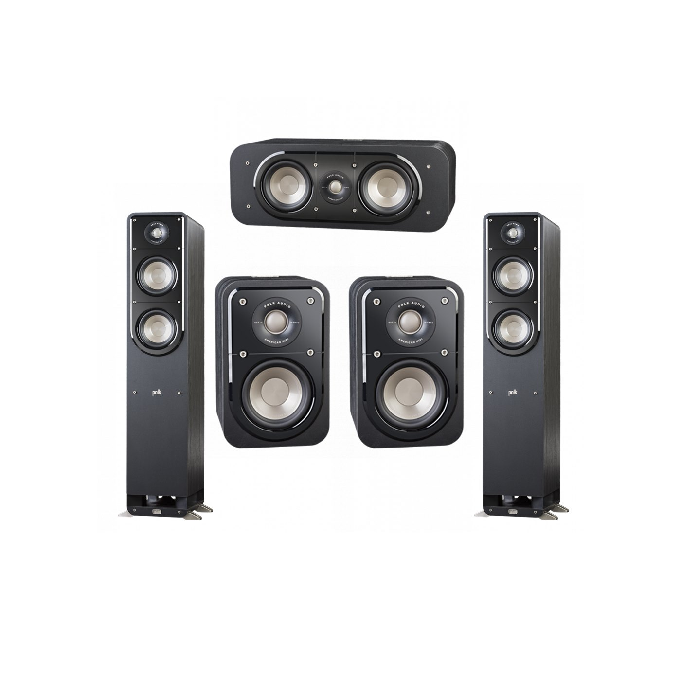 Polk Audio Signature 5.0 System with 2 S50 Tower Speaker, 1 Polk S30 Center Speaker, 2 Polk S10 Surround Speaker