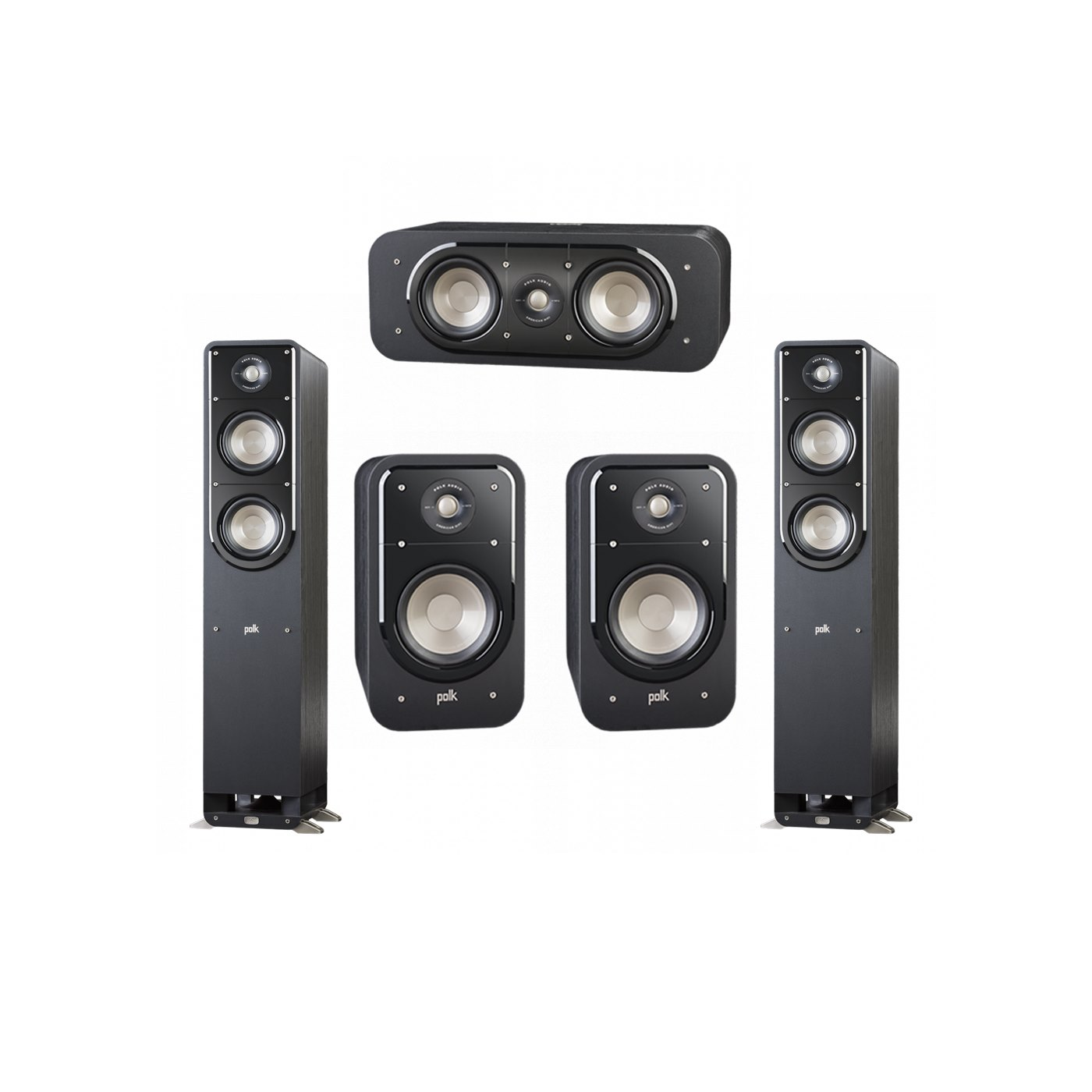 Polk Audio Signature 5.0 System with 2 S50 Tower Speaker, 1 Polk S30 Center Speaker, 2 Polk S20 Bookshelf Speaker