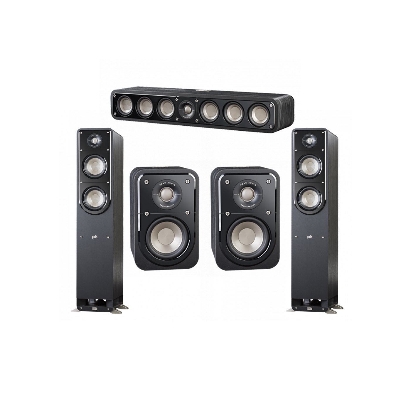 Polk Audio Signature 5.0 System with 2 S50 Tower Speaker, 1 Polk S35 Center Speaker, 2 Polk S10 Surround Speaker