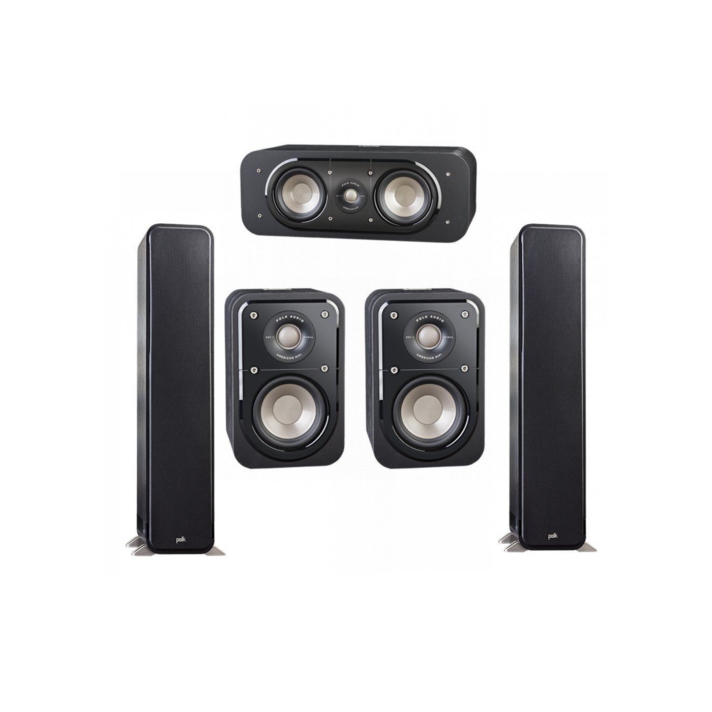 Polk Audio Signature 5.0 System with 2 S55 Tower Speaker, 1 Polk S30 Center Speaker, 2 Polk S10 Surround Speaker