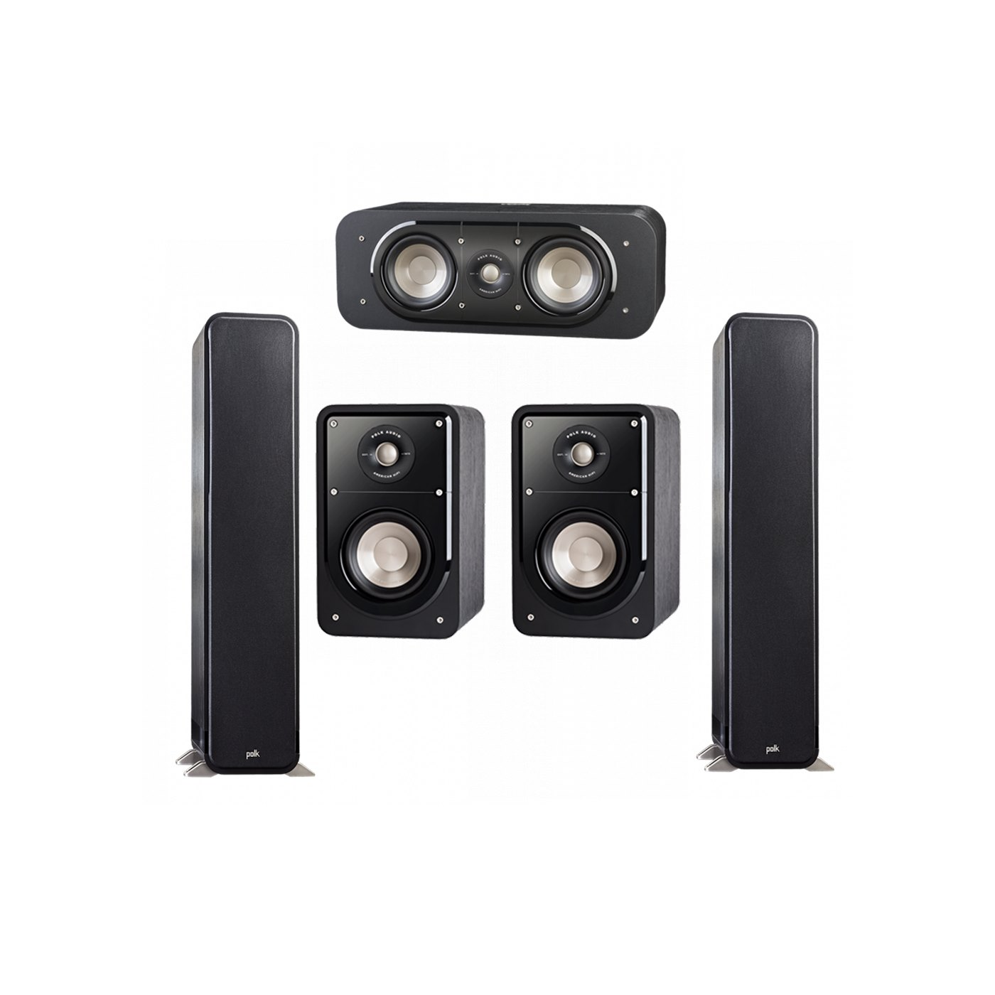 Polk Audio Signature 5.0 System with 2 S55 Tower Speaker, 1 Polk S30 Center Speaker, 2 Polk S15 Bookshelf Speaker
