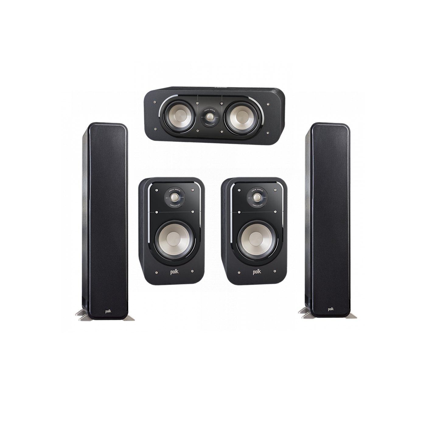 Polk Audio Signature 5.0 System with 2 S55 Tower Speaker, 1 Polk S30 Center Speaker, 2 Polk S20 Bookshelf Speaker