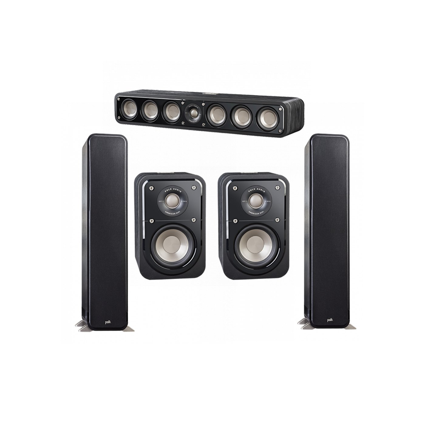 Polk Audio Signature 5.0 System with 2 S55 Tower Speaker, 1 Polk S35 Center Speaker, 2 Polk S10 Surround Speaker