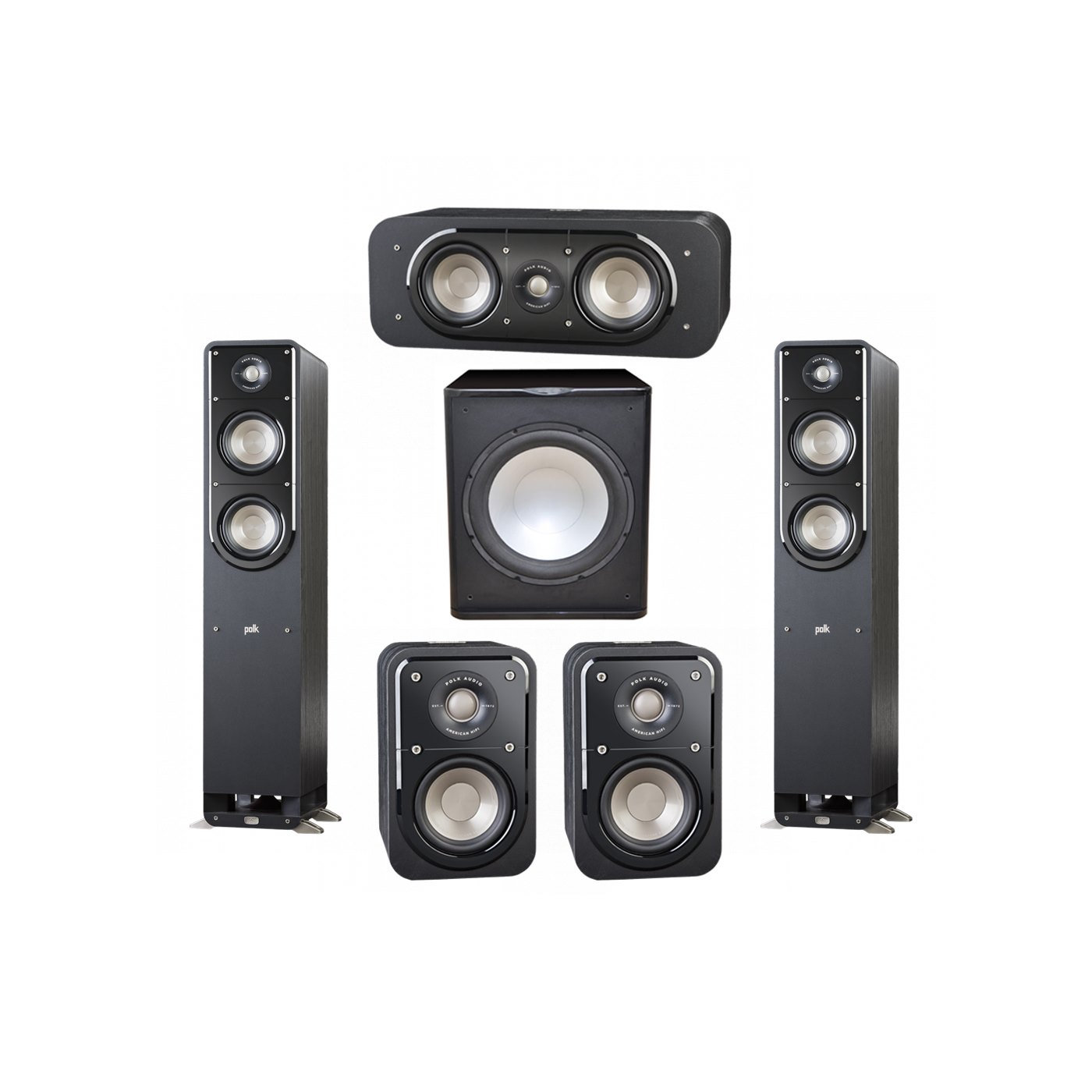 Polk Audio Signature 5.1 System with 2 S50 Tower Speaker, 1 Polk S30 Center Speaker, 2 Polk S10 Surround Speaker, 1 Premier Acoustic PA-150 Powered Subwoofer