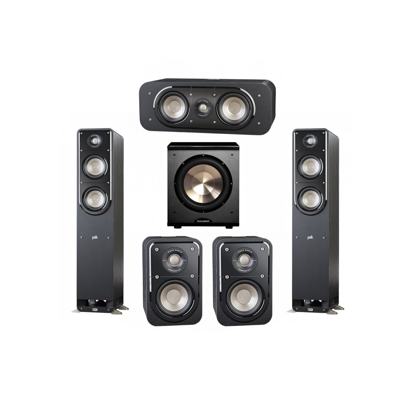 Polk Audio Signature 5.1 System with 2 S50 Tower Speaker, 1 Polk S30 Center Speaker, 2 Polk S10 Surround Speaker, 1 BIC/Acoustech Platinum Series PL-200 Subwoofer