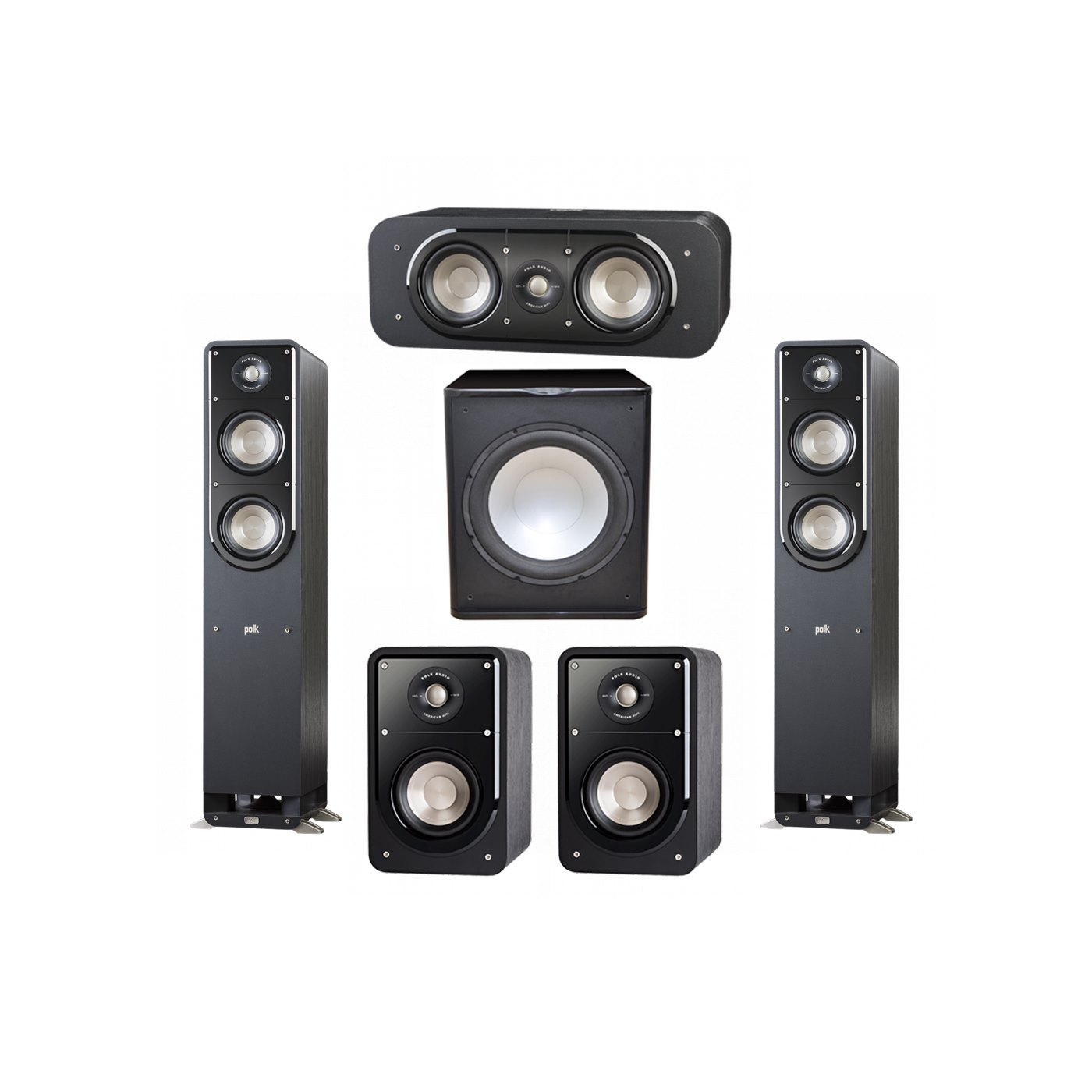 Polk Audio Signature 5.1 System with 2 S50 Tower Speaker, 1 Polk S30 Center Speaker, 2 Polk S15 Bookshelf Speaker, 1 Premier Acoustic PA-150 Powered Subwoofer