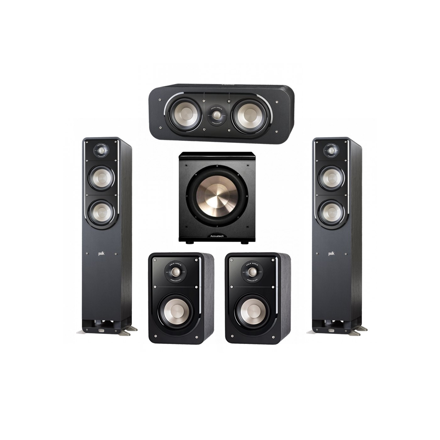 Polk Audio Signature 5.1 System with 2 S50 Tower Speaker, 1 Polk S30 Center Speaker, 2 Polk S15 Bookshelf Speaker, 1 BIC/Acoustech Platinum Series PL-200 Subwoofer