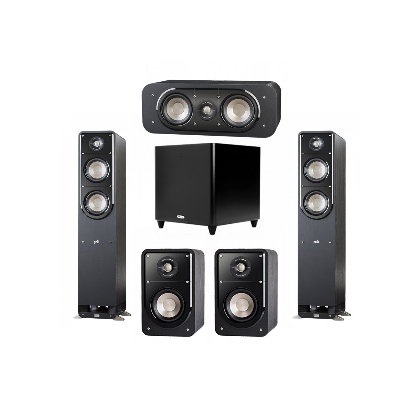Polk Audio Signature 5.1 System with 2 S50 Tower Speaker, 1 Polk S30 Center Speaker, 2 Polk S15 Bookshelf Speaker, 1 Polk DSW PRO 660 wi Subwoofer