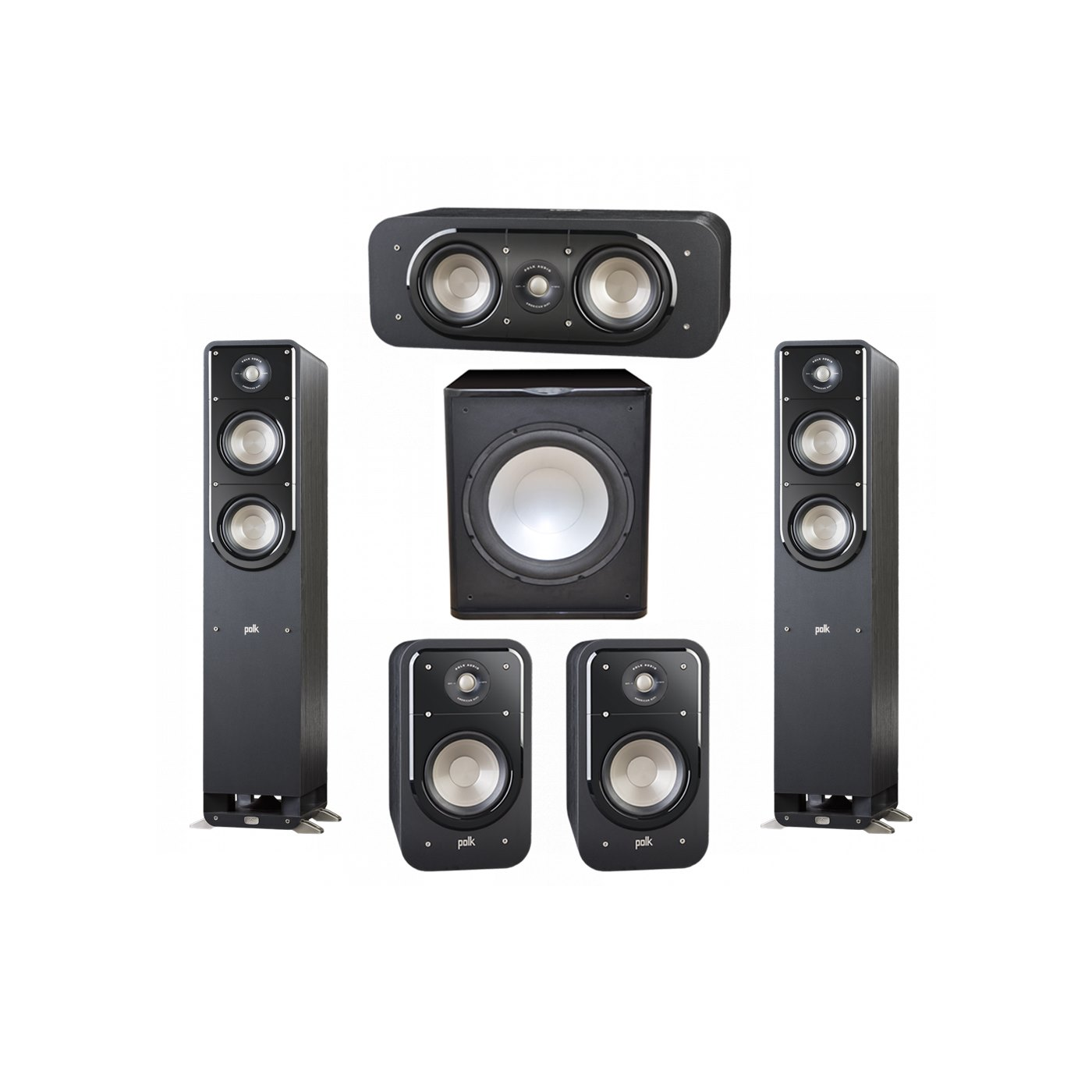 Polk Audio Signature 5.1 System with 2 S50 Tower Speaker, 1 Polk S30 Center Speaker, 2 Polk S20 Bookshelf Speaker, 1 Premier Acoustic PA-150 Powered Subwoofer