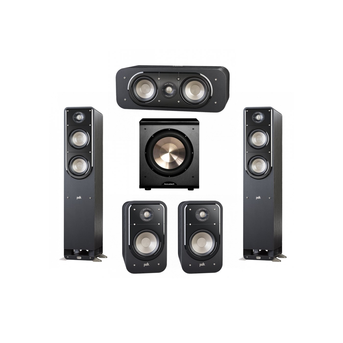 Polk Audio Signature 5.1 System with 2 S50 Tower Speaker, 1 Polk S30 Center Speaker, 2 Polk S20 Bookshelf Speaker, 1 BIC/Acoustech Platinum Series PL-200 Subwoofer