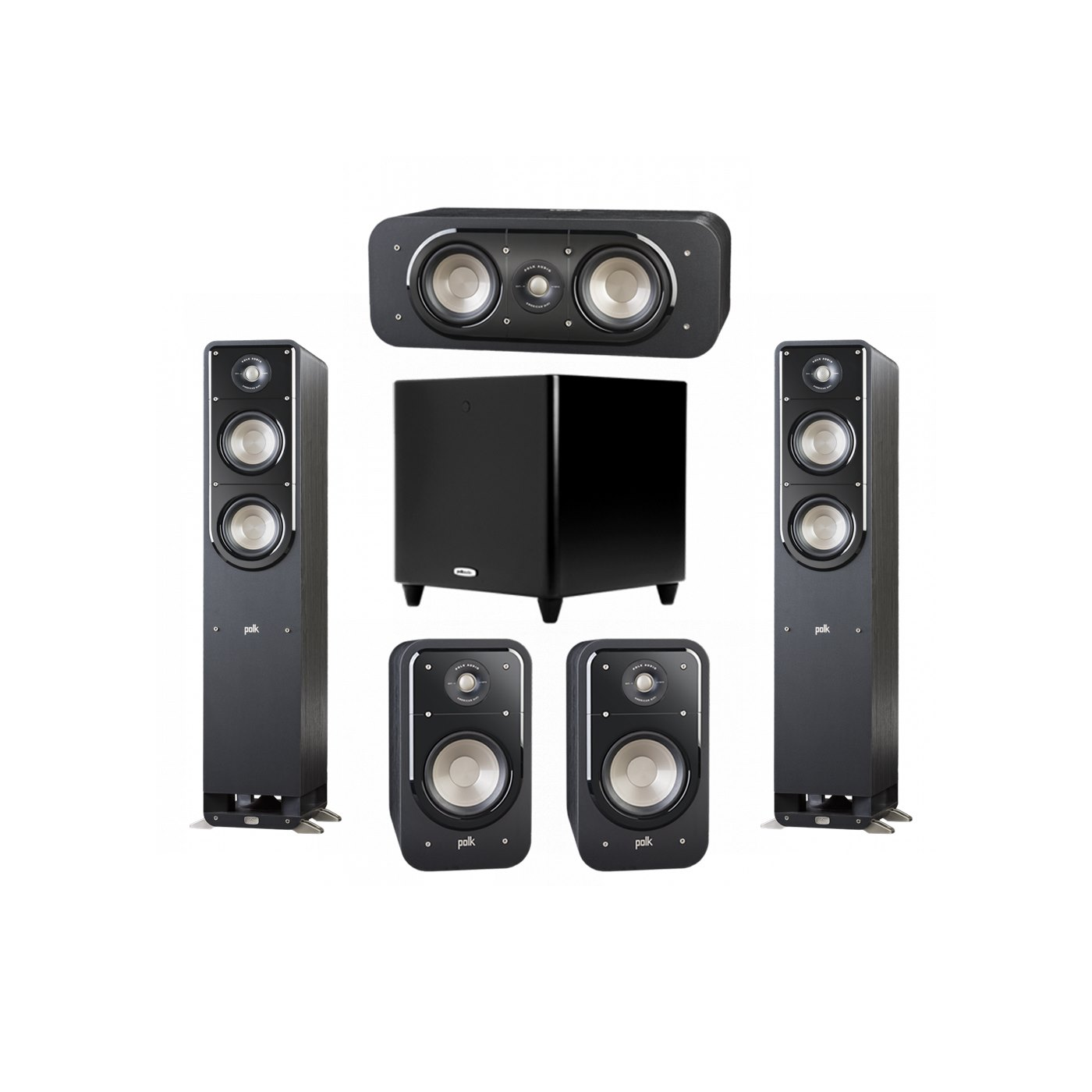 Polk Audio Signature 5.1 System with 2 S50 Tower Speaker, 1 Polk S30 Center Speaker, 2 Polk S20 Bookshelf Speaker, 1 Polk DSW PRO 550 wi Subwoofer