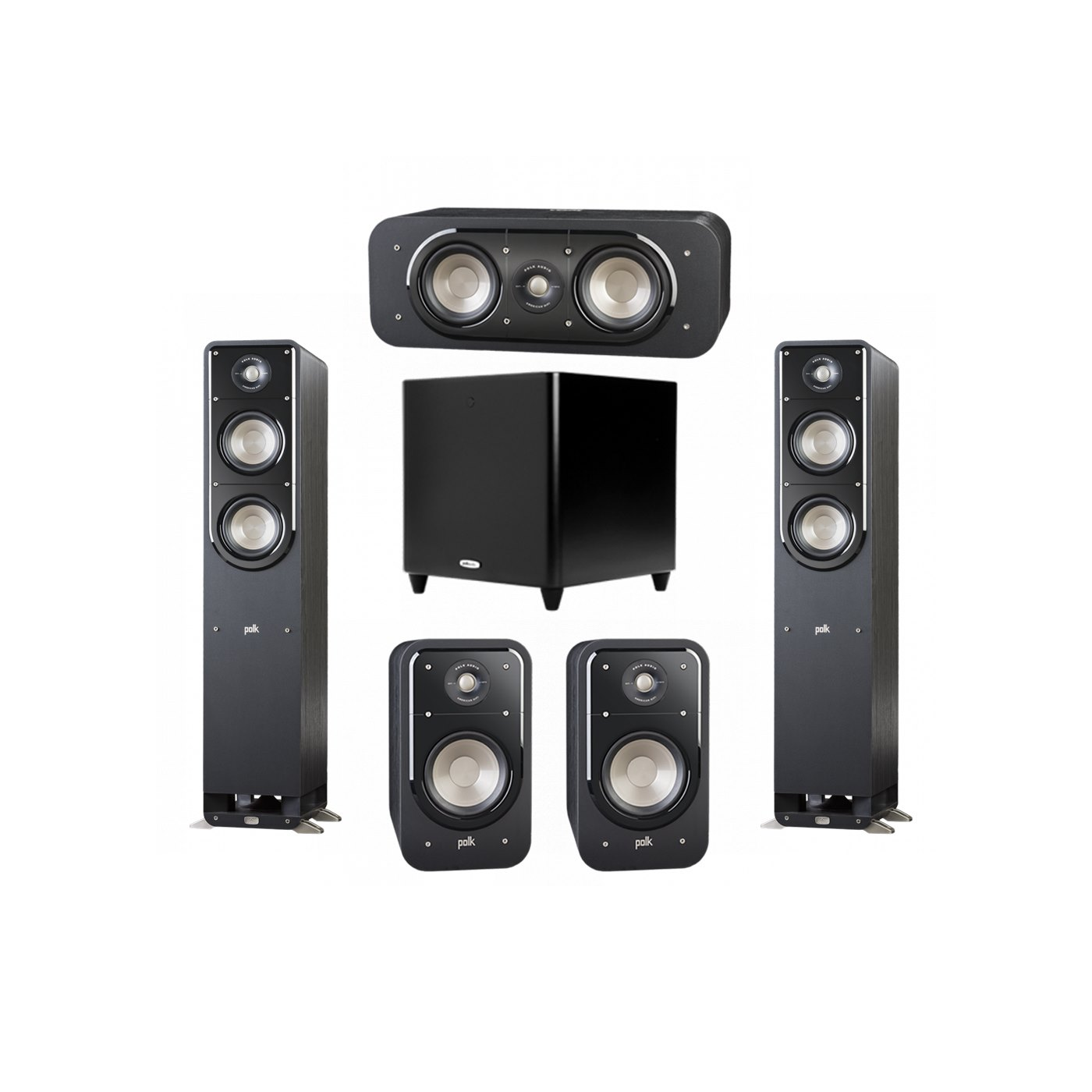 Polk Audio Signature 5.1 System with 2 S50 Tower Speaker, 1 Polk S30 Center Speaker, 2 Polk S20 Bookshelf Speaker, 1 Polk DSW PRO 660 wi Subwoofer