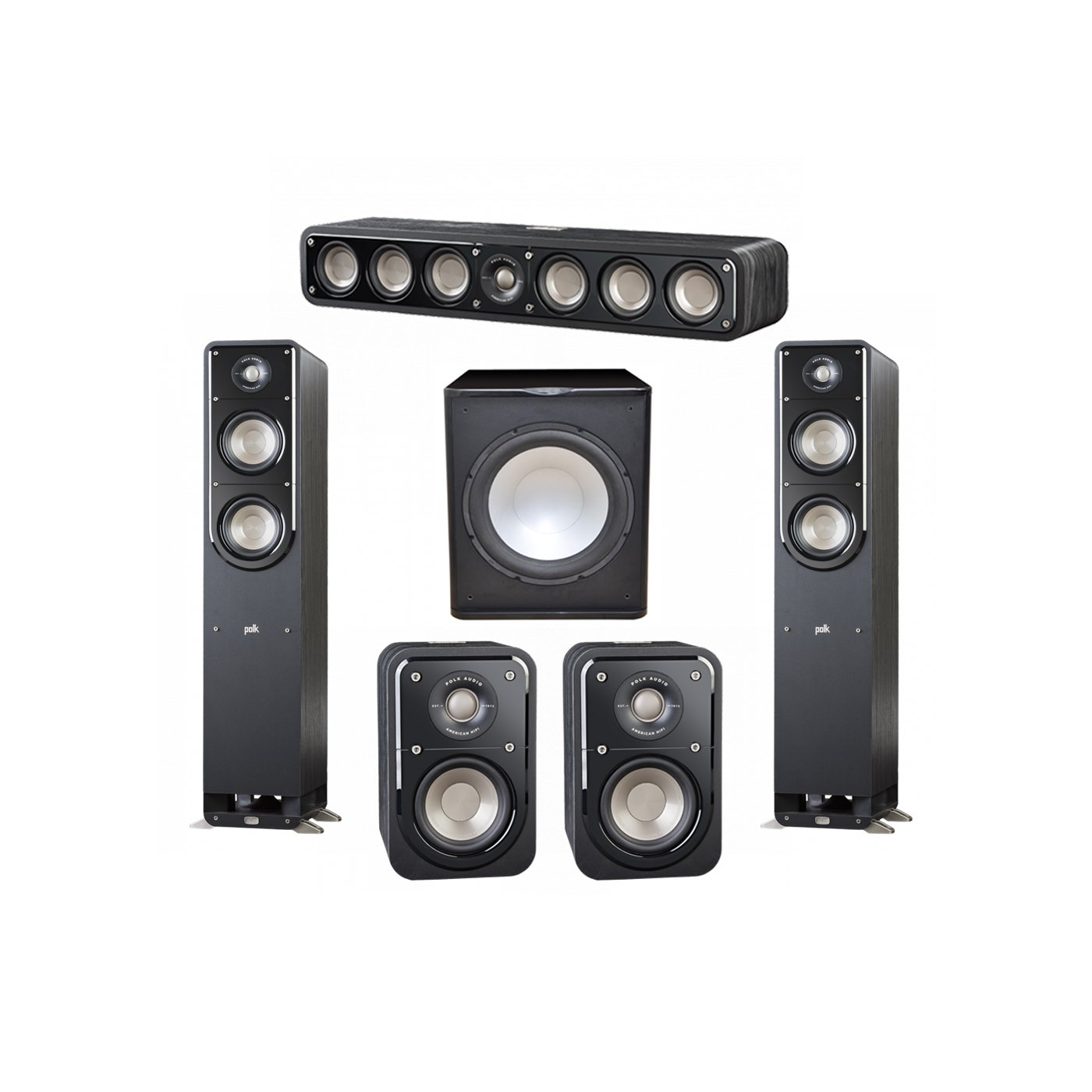 Polk Audio Signature 5.1 System with 2 S50 Tower Speaker, 1 Polk S35 Center Speaker, 2 Polk S10 Surround Speaker, 1 Premier Acoustic PA-150 Powered Subwoofer
