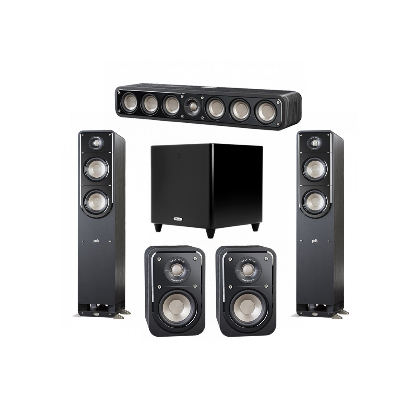 Polk Audio Signature 5.1 System with 2 S50 Tower Speaker, 1 Polk S35 Center Speaker, 2 Polk S10 Surround Speaker, 1 Polk DSW PRO 550 wi Subwoofer