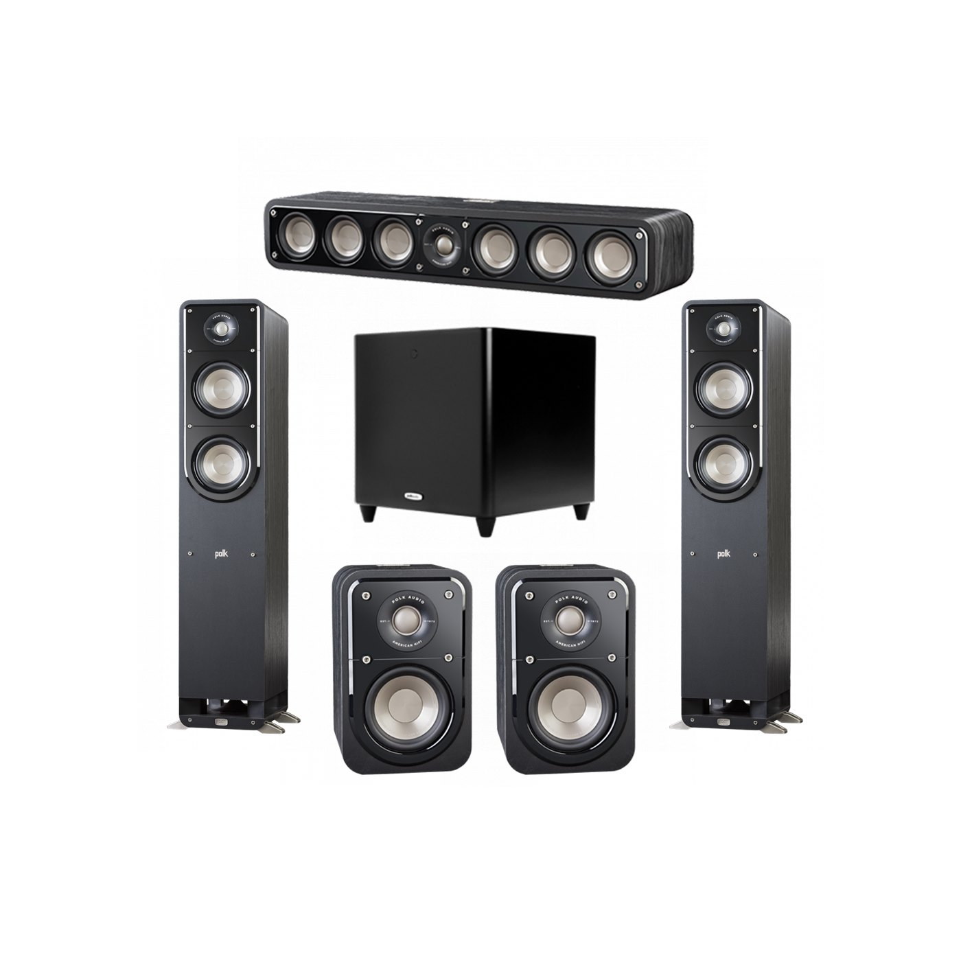 Polk Audio Signature 5.1 System with 2 S50 Tower Speaker, 1 Polk S35 Center Speaker, 2 Polk S10 Surround Speaker, 1 Polk DSW PRO 660 wi Subwoofer