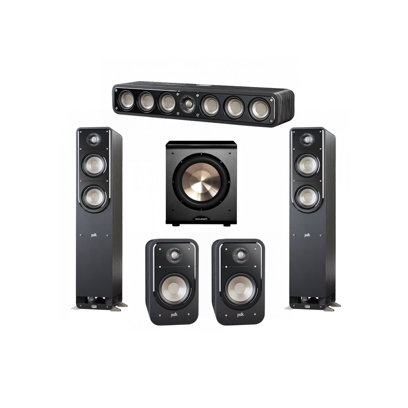 Polk Audio Signature 5.1 System with 2 S50 Tower Speaker, 1 Polk S35 Center Speaker, 2 Polk S20 Bookshelf Speaker, 1 BIC/Acoustech Platinum Series PL-200 Subwoofer
