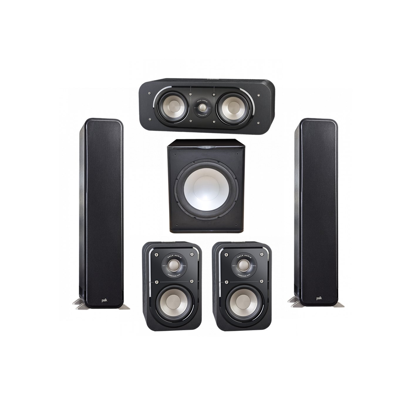 Polk Audio Signature 5.1 System with 2 S55 Tower Speaker, 1 Polk S30 Center Speaker, 2 Polk S10 Surround Speaker, 1 Premier Acoustic PA-150 Powered Subwoofer