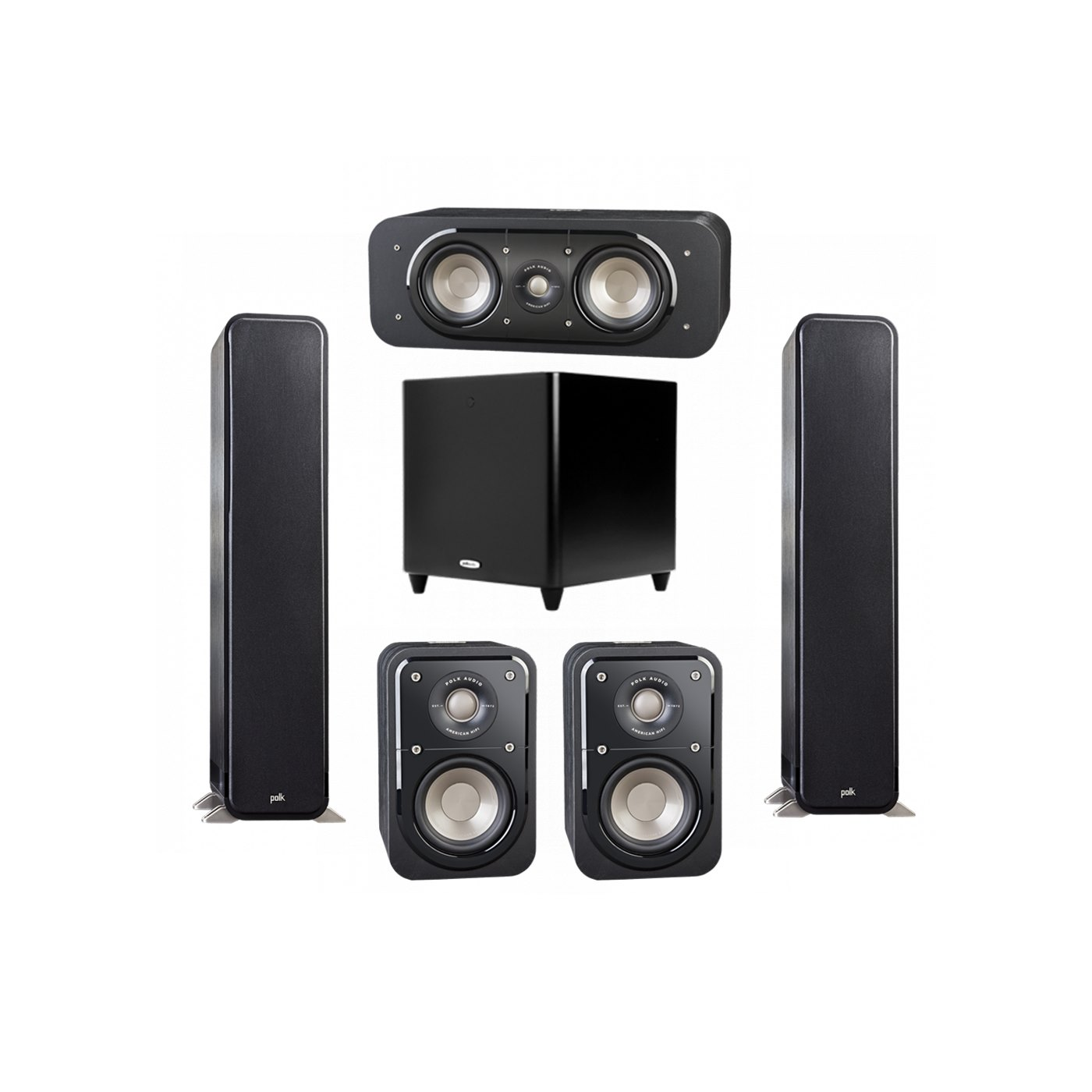 Polk Audio Signature 5.1 System with 2 S55 Tower Speaker, 1 Polk S30 Center Speaker, 2 Polk S10 Surround Speaker, 1 Polk DSW PRO 660 wi Subwoofer